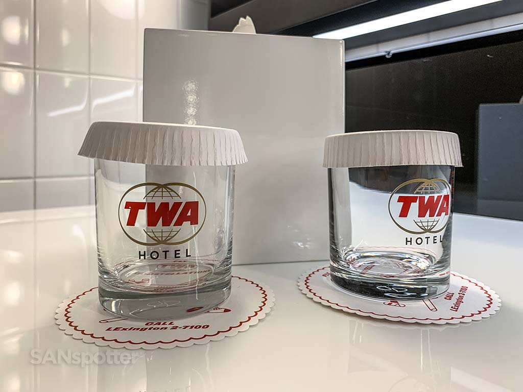 TWA logo glasses