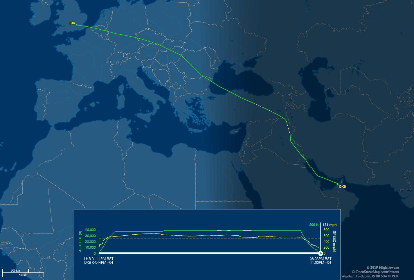 LHR-DXB flight track