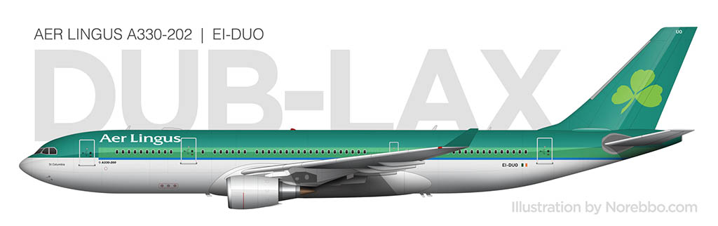 Aer Lingus A330-200 side view illustration