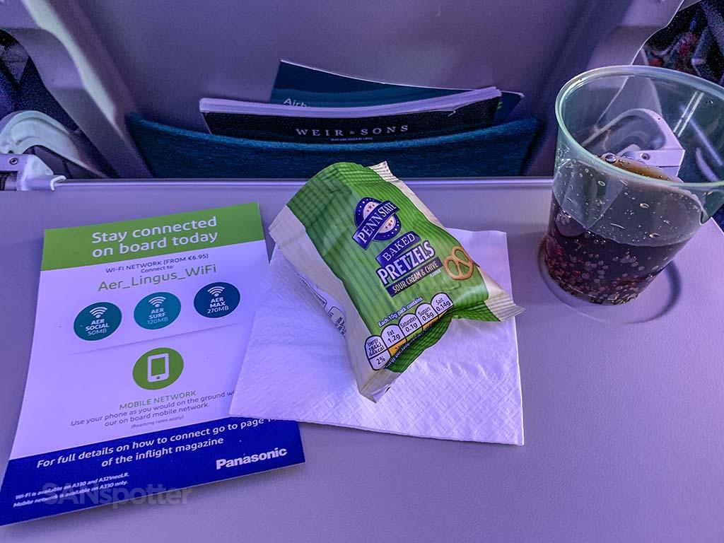 Aer Lingus economy snack