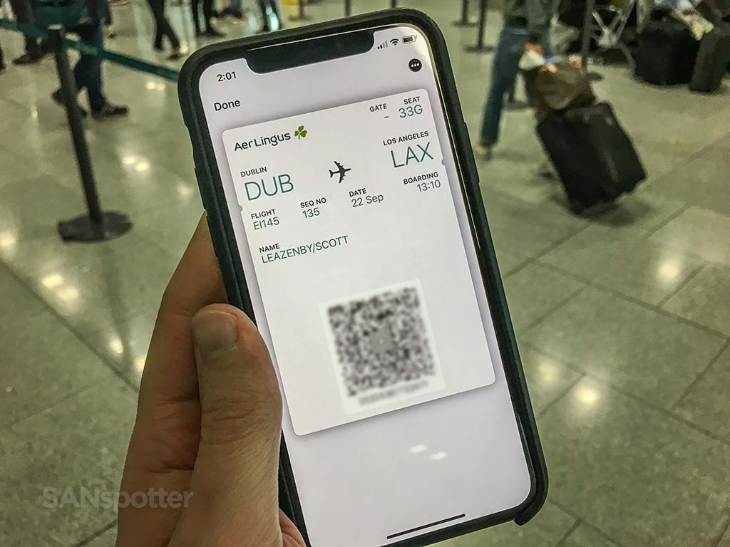 Aer Lingus mobile boarding pass EI145