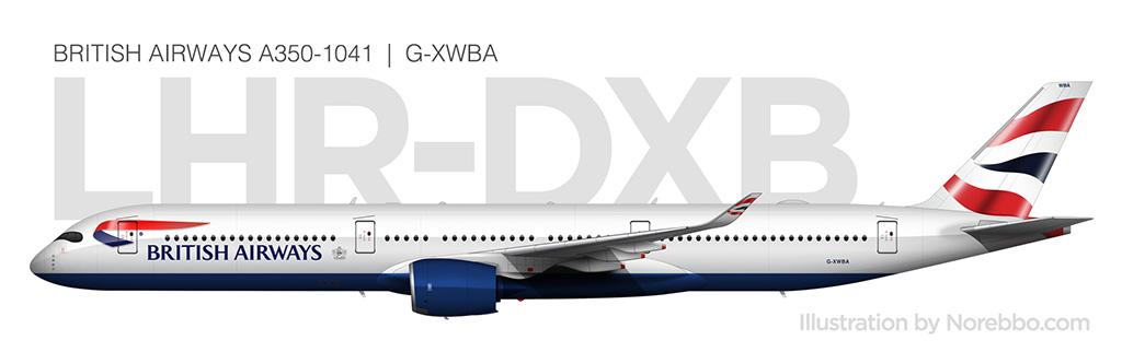 British Airways A350-1000 side view