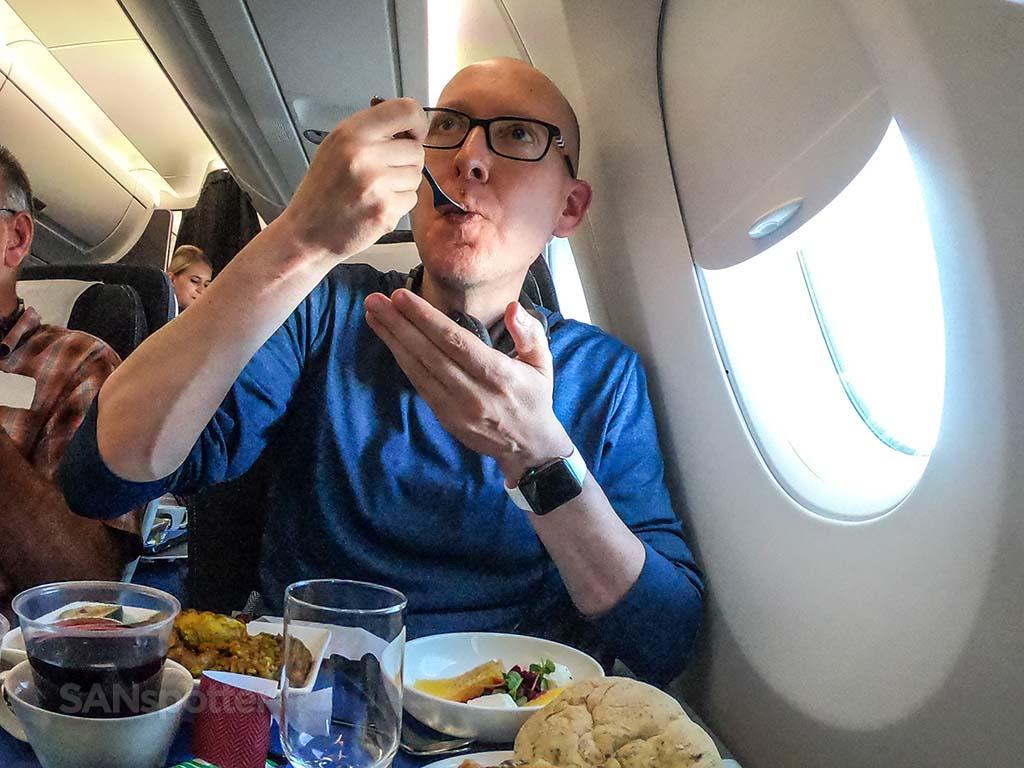 Sanspotter selfie British Airways world Traveler Plus