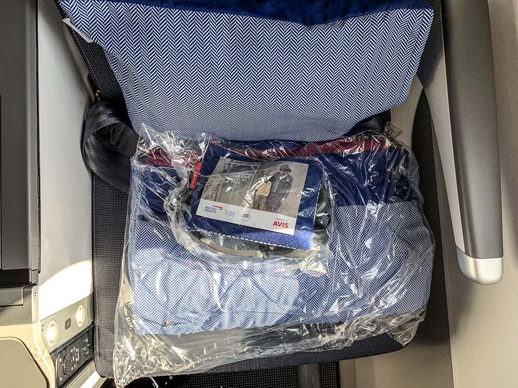 British Airways premium economy swag