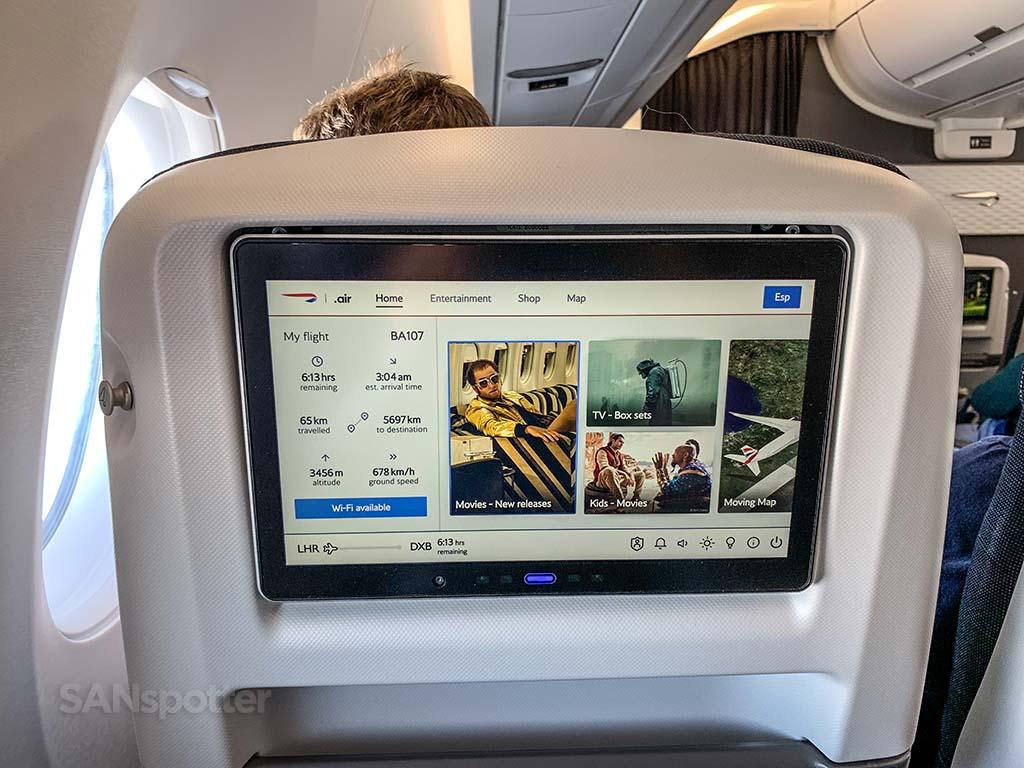 British Airways a350 premium economy video screen