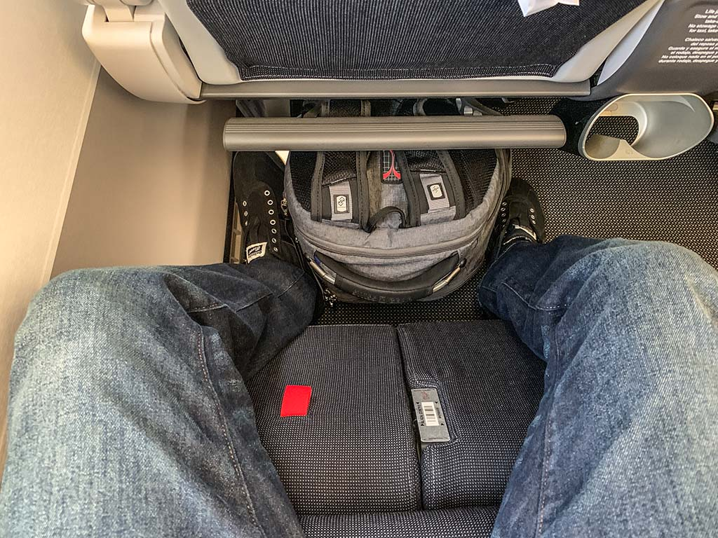 British Airways premium economy leg rest