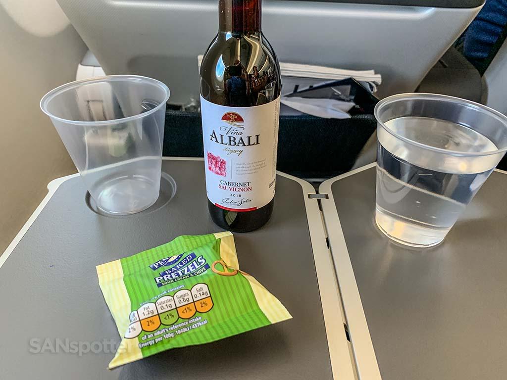 British Airways premium economy snack