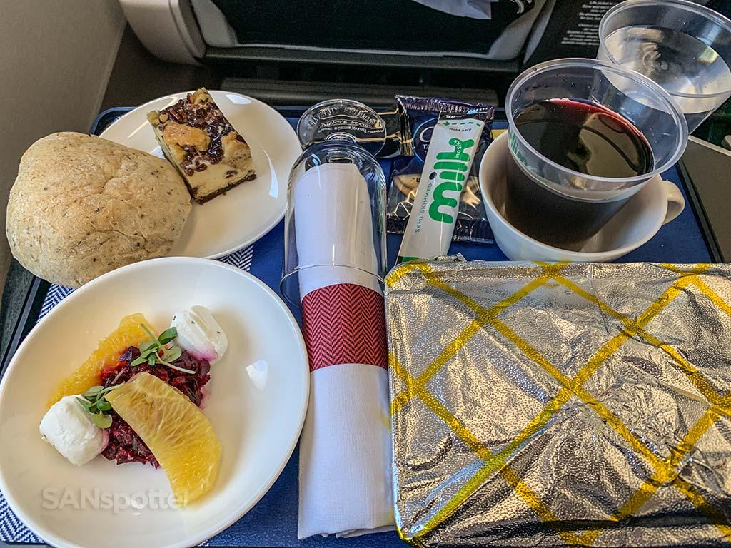 British Airways premium economy food