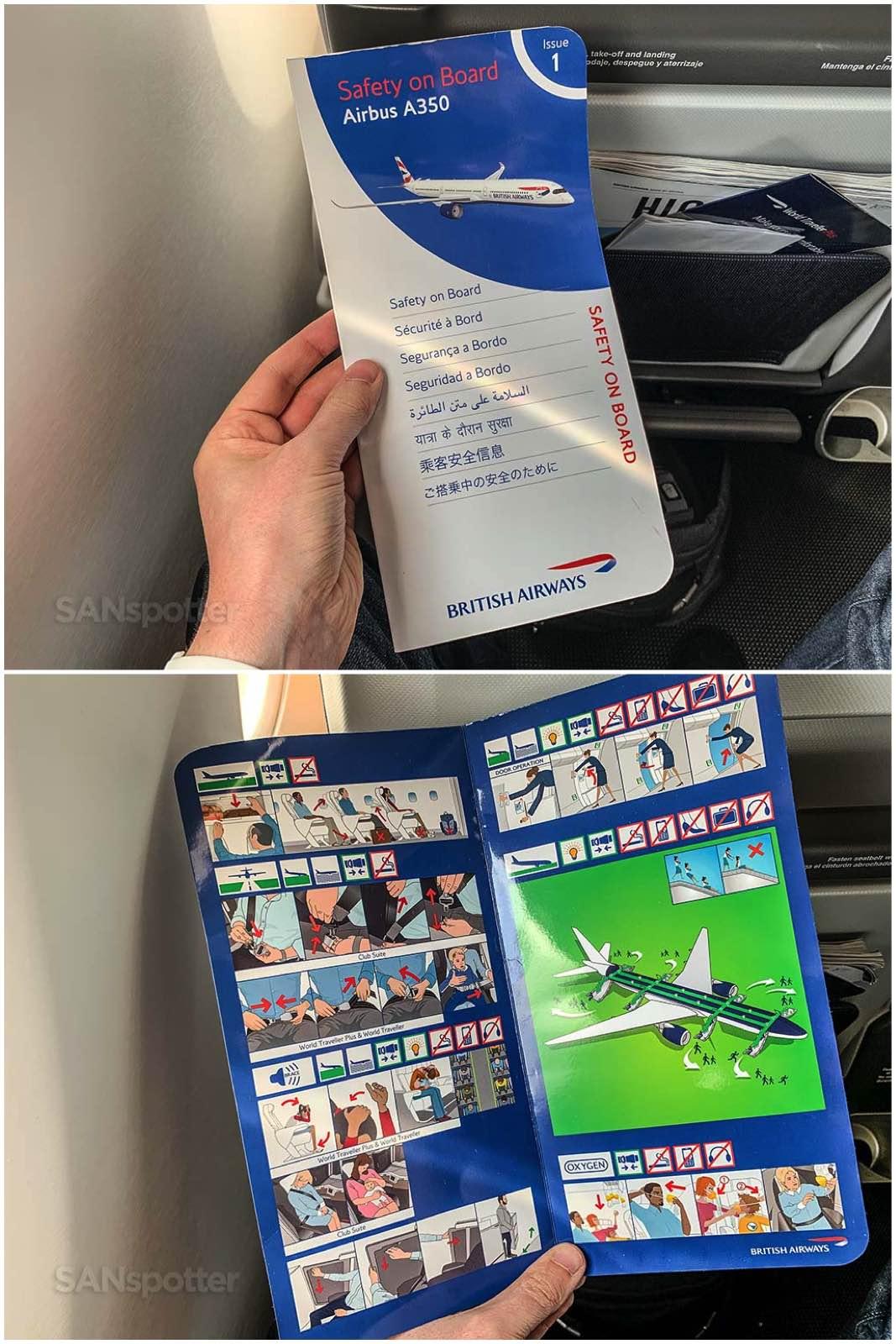 British Airways a350-1000 safety card