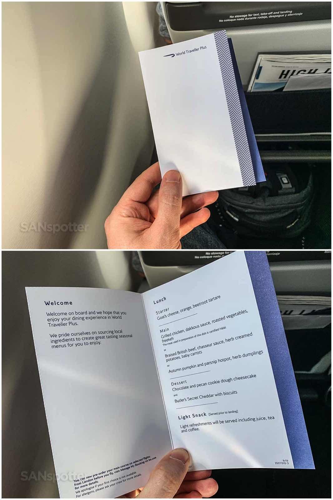 British Airways premium economy menu