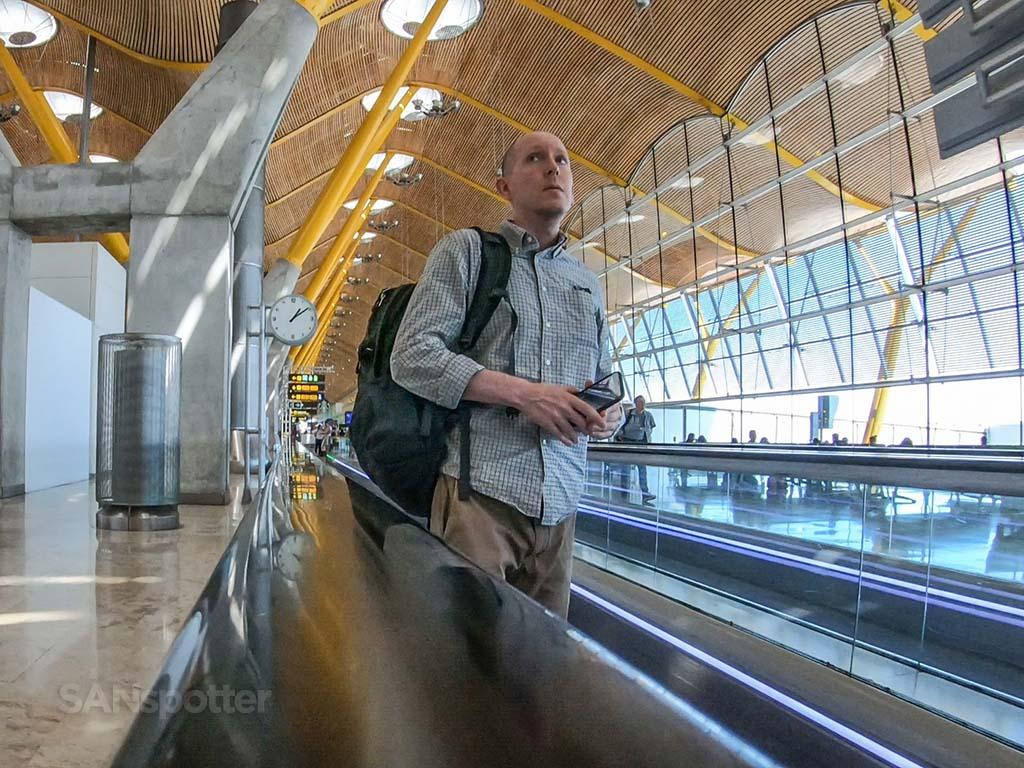 SANspotter selfie Madrid Airport
