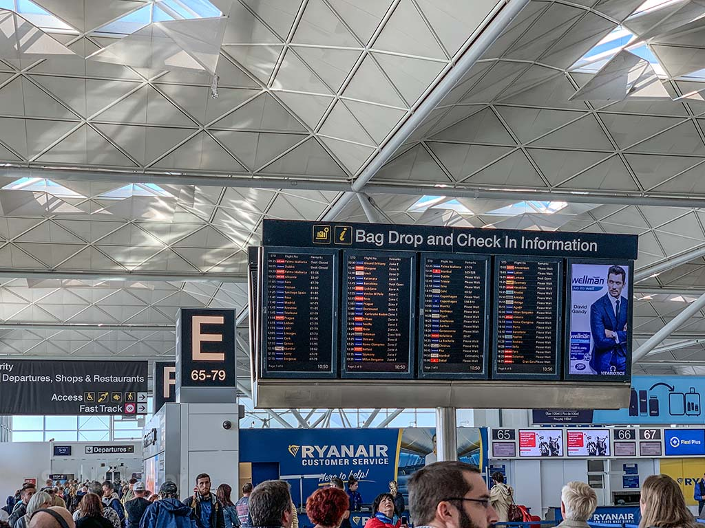 Stansted Airport departures board