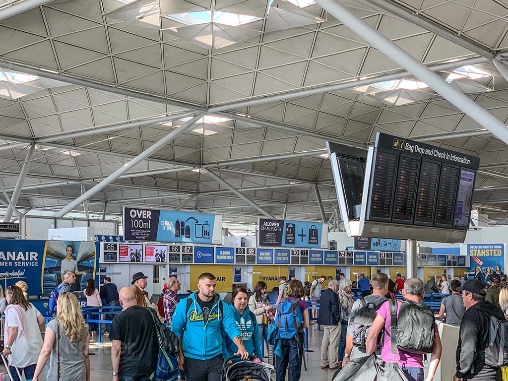 Ryanair check in Stansted Airport