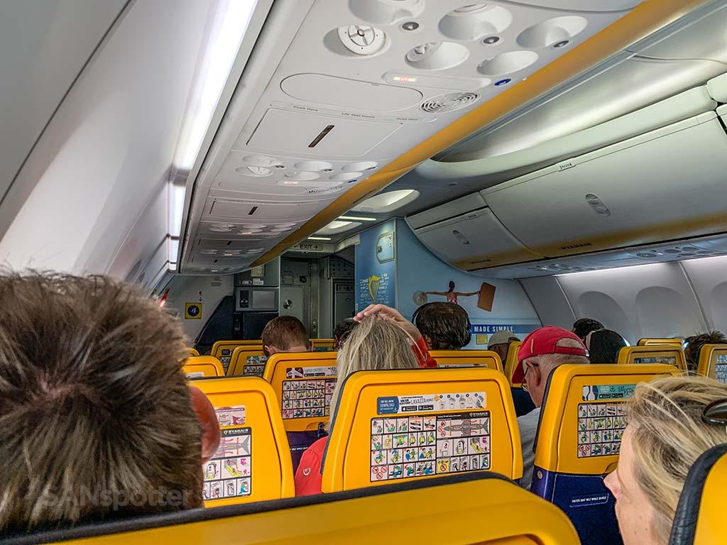 Ryanair seats with yellow headrests