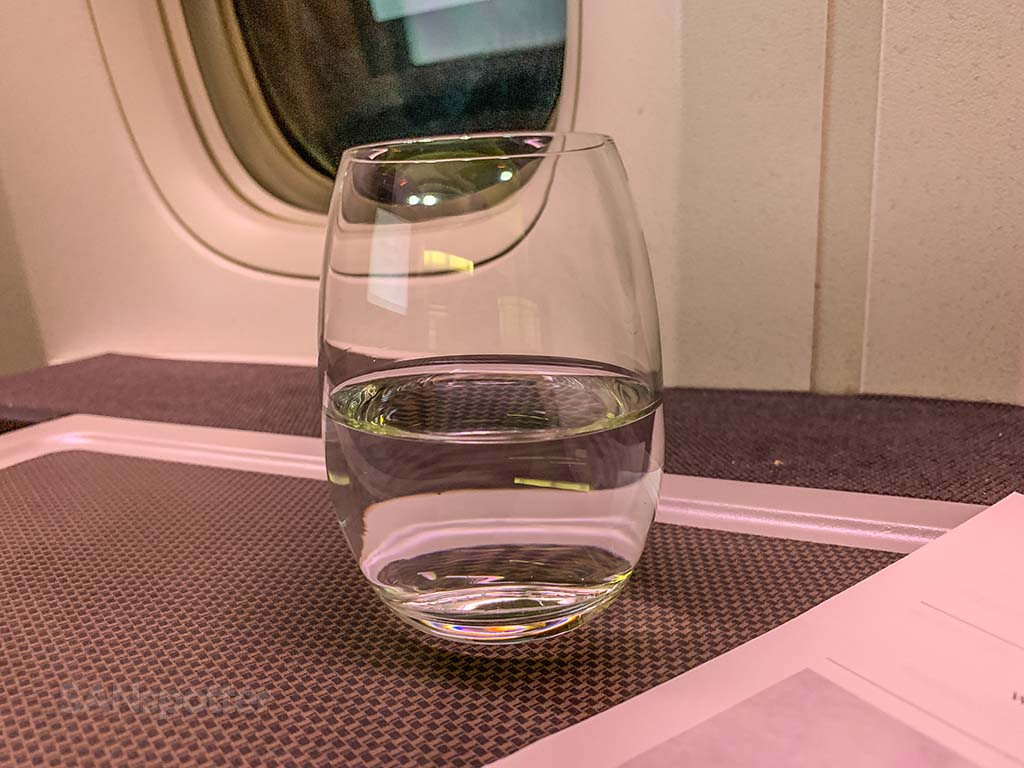 Cathay Pacific business class pre departure drink