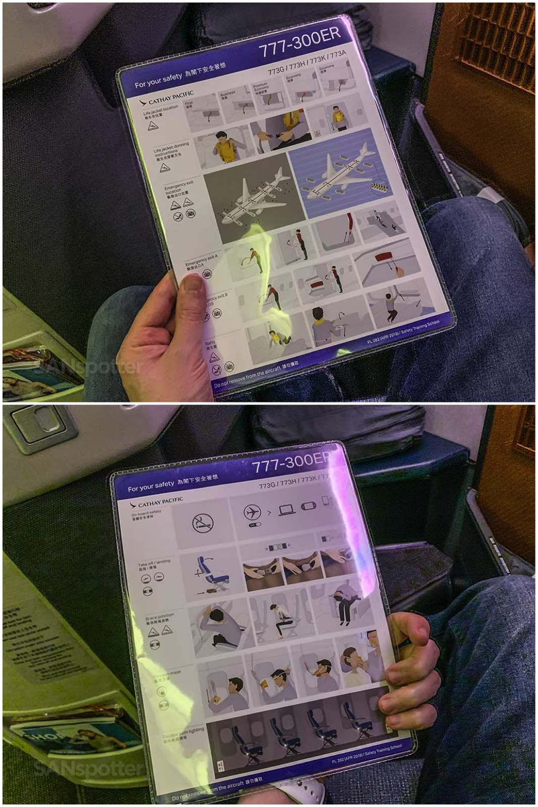 Cathay Pacific 777-300er safety card