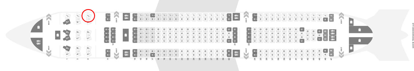 Hawaiian Airlines A330-200 seat map