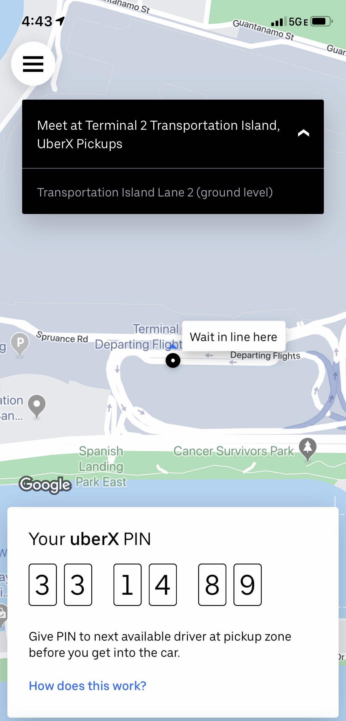 Uber six digit PIN