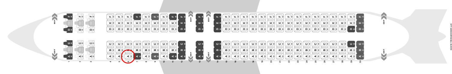 WestJet 737-800 seat map