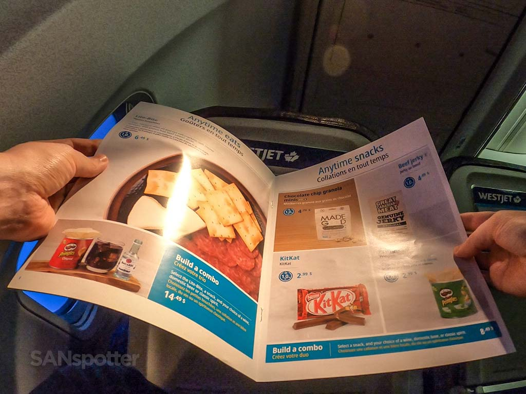 westjet menu pics