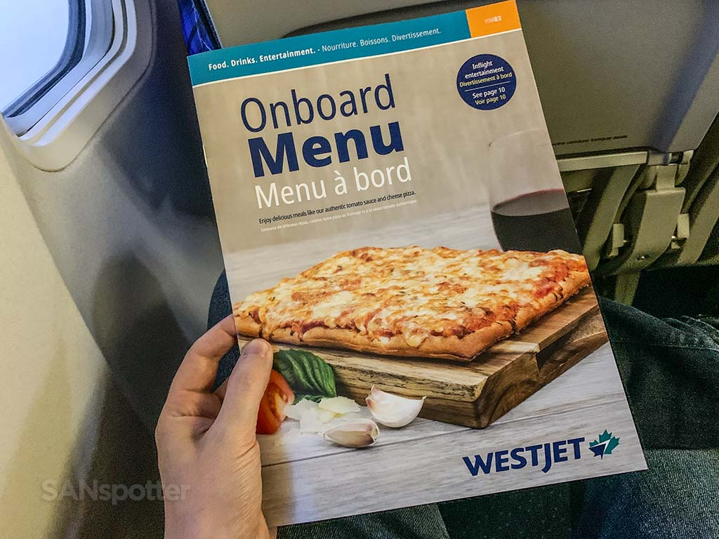 westjet food menu