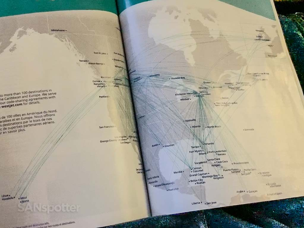 WesJet route map