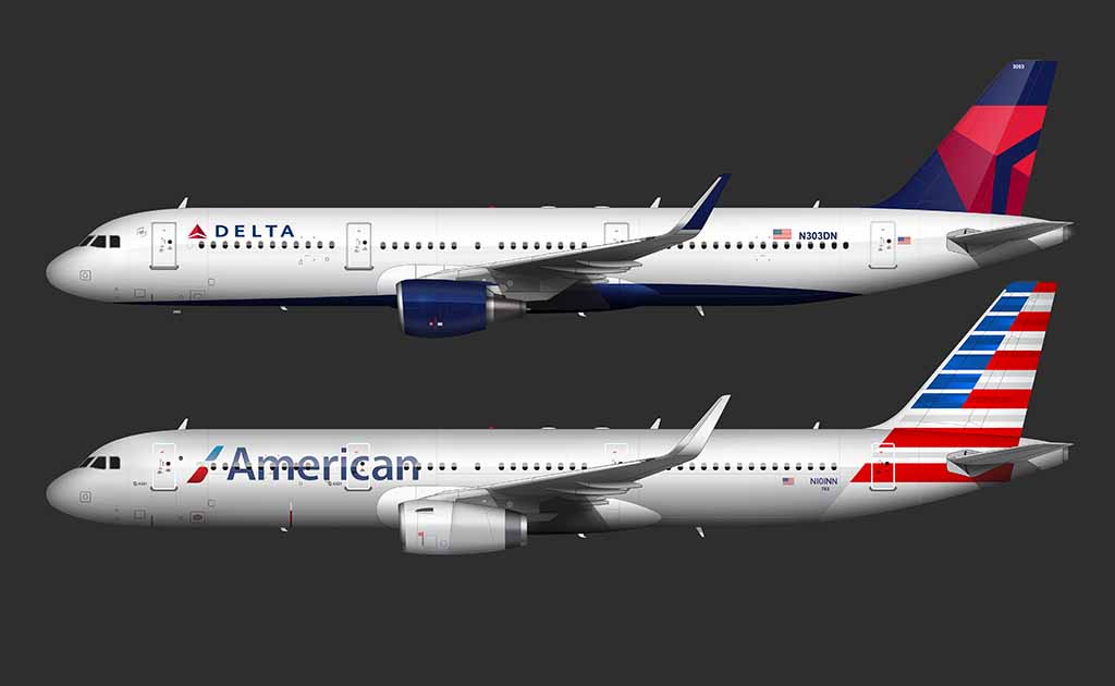 American Airlines livery vs Delta livery