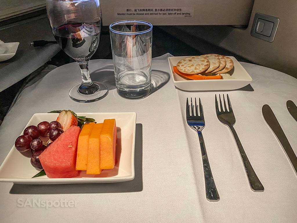 china eastern after dinner fruit and cheese
