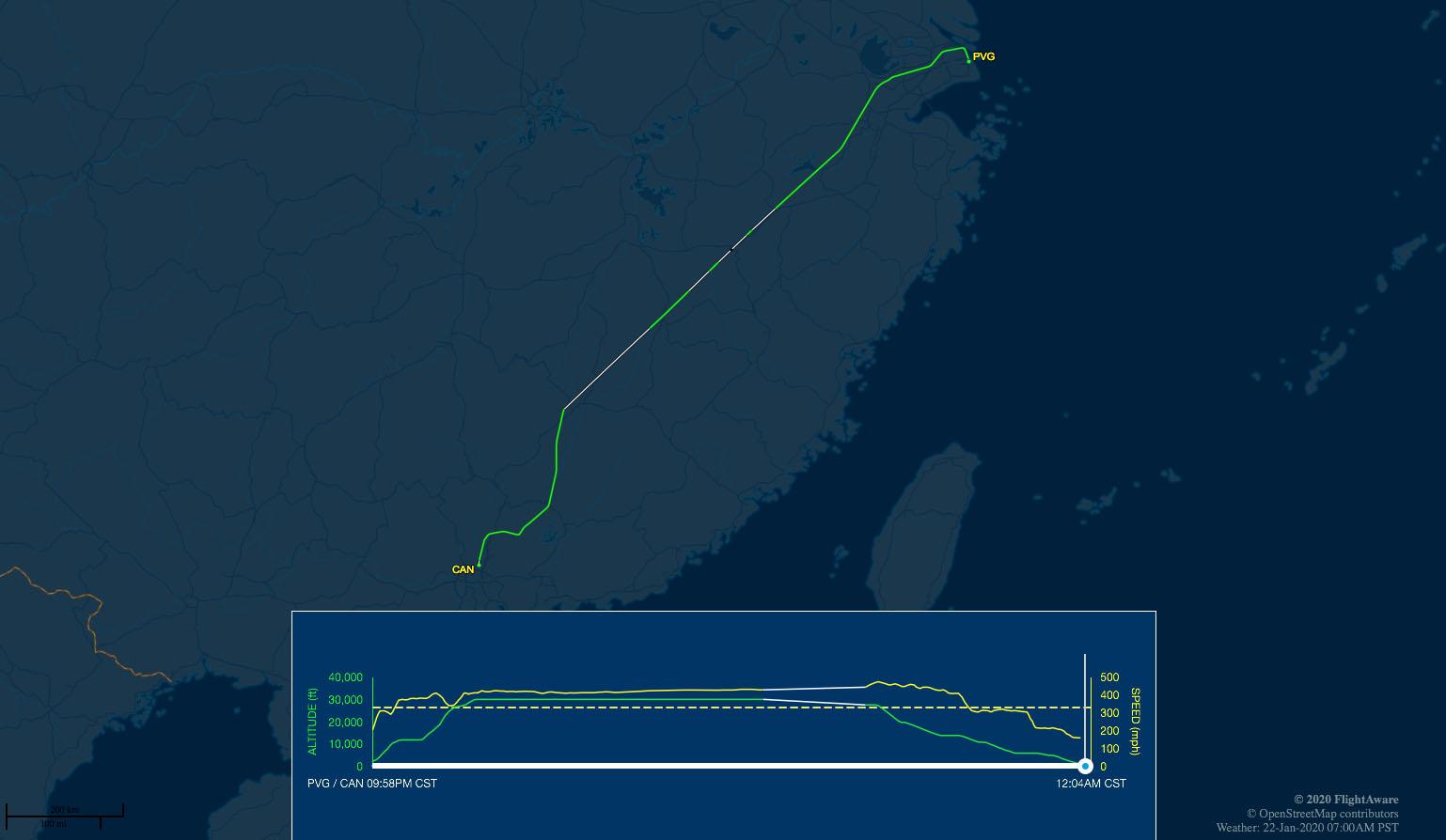 CZ3585 flight track