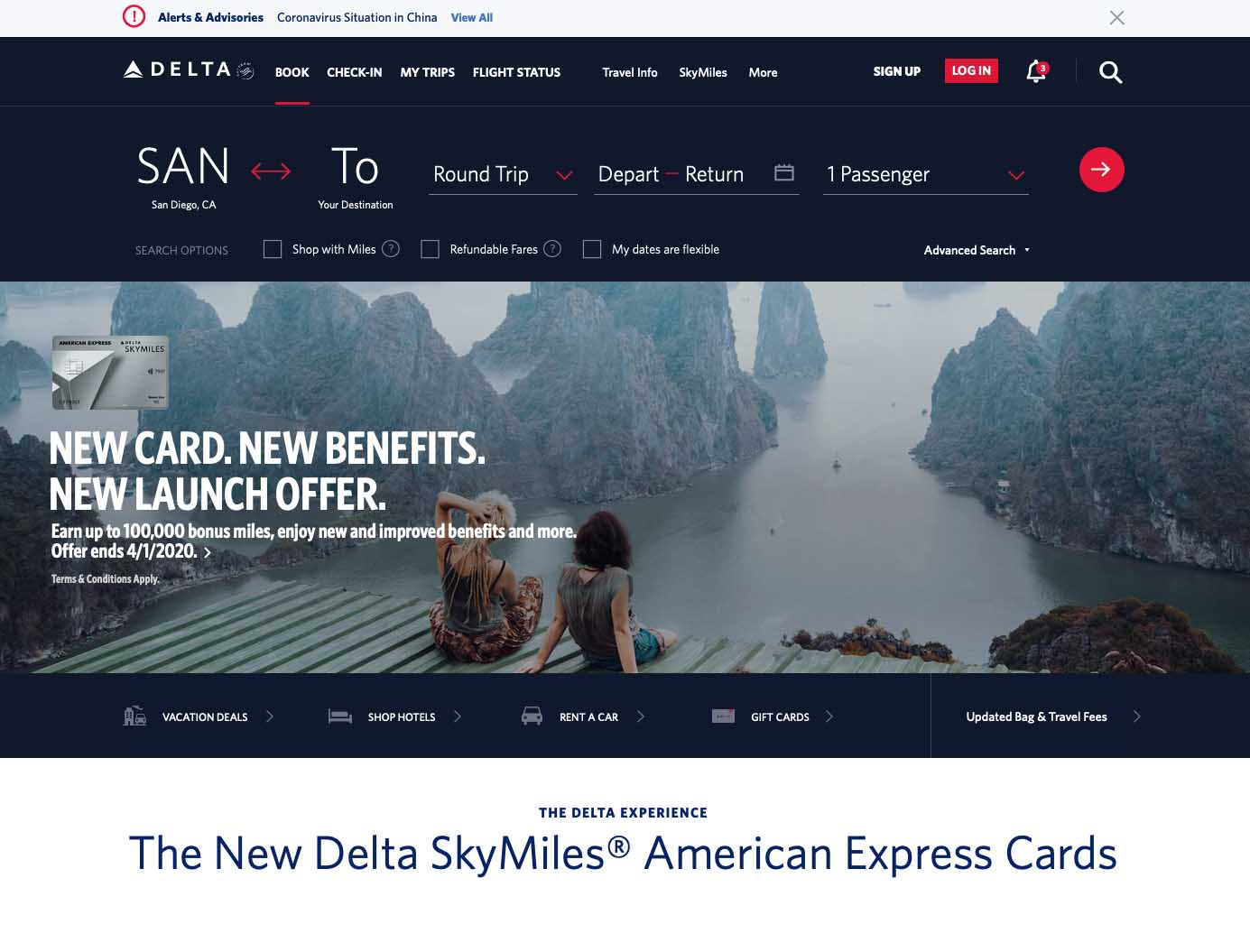 delta website homepage