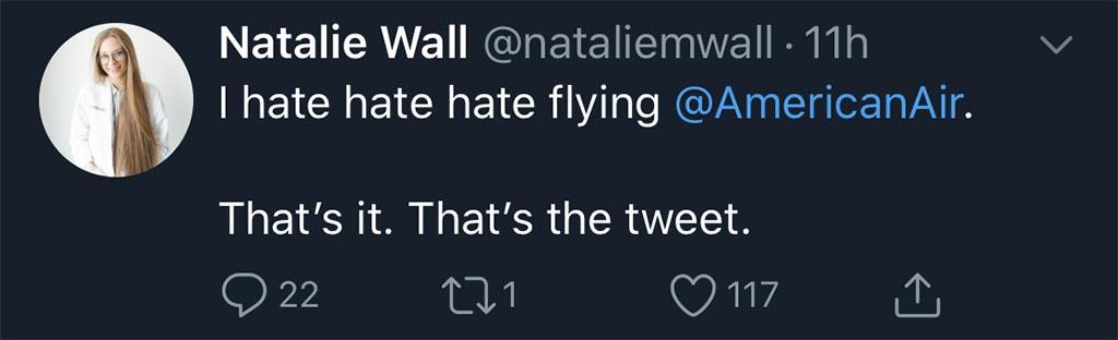 Angry American Airlines tweet