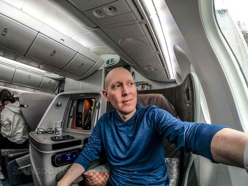 SANspotter selfie Singapore Airlines 787 business class