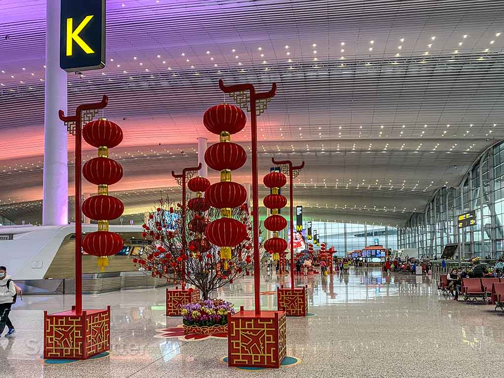 Guangzhou airport lunar new year decorations