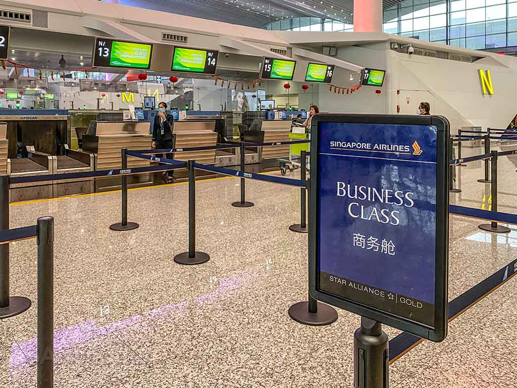 Singapore Airlines business class check in Guangzhou airport