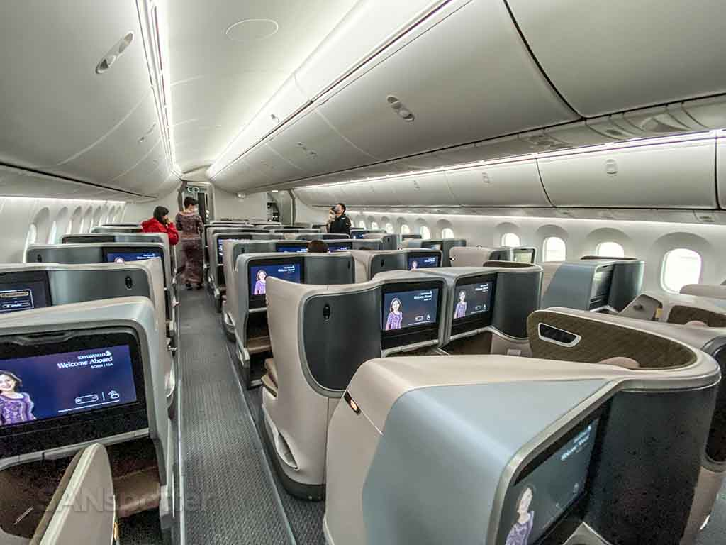Singapore Airlines 787 regional business class cabin