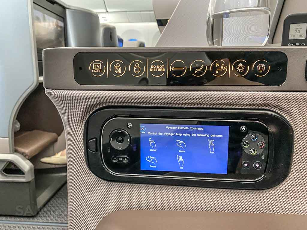 Singapore Airlines 787 business class seat controls