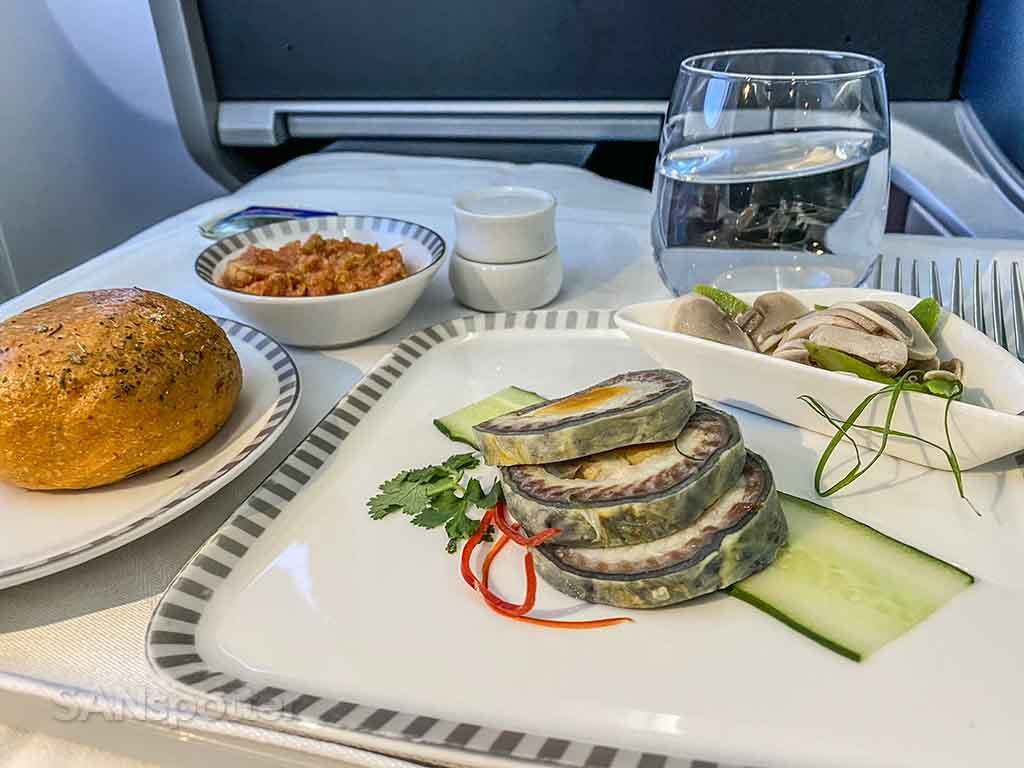 Singapore Airlines business class appetizer