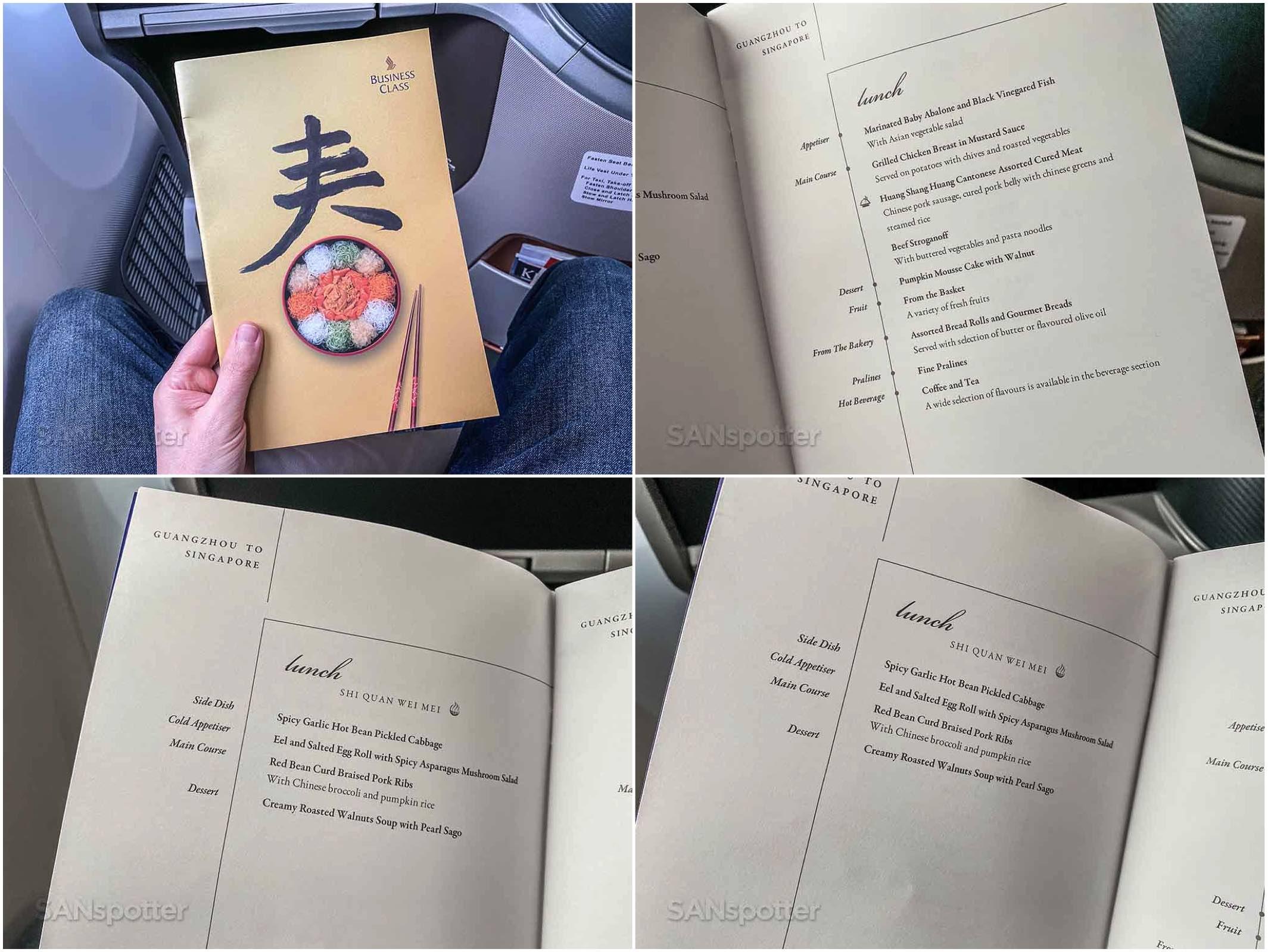Singapore Airlines regional business class menu