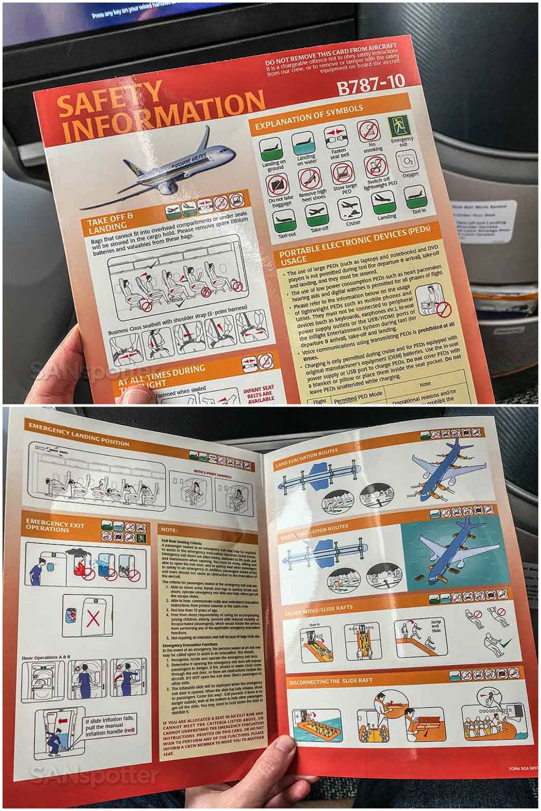 Singapore Airlines 787-10 safety card