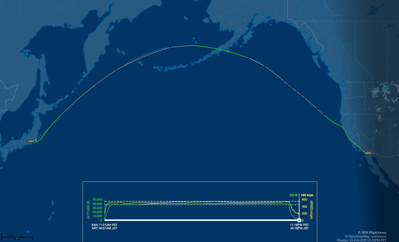 JL65 flight track