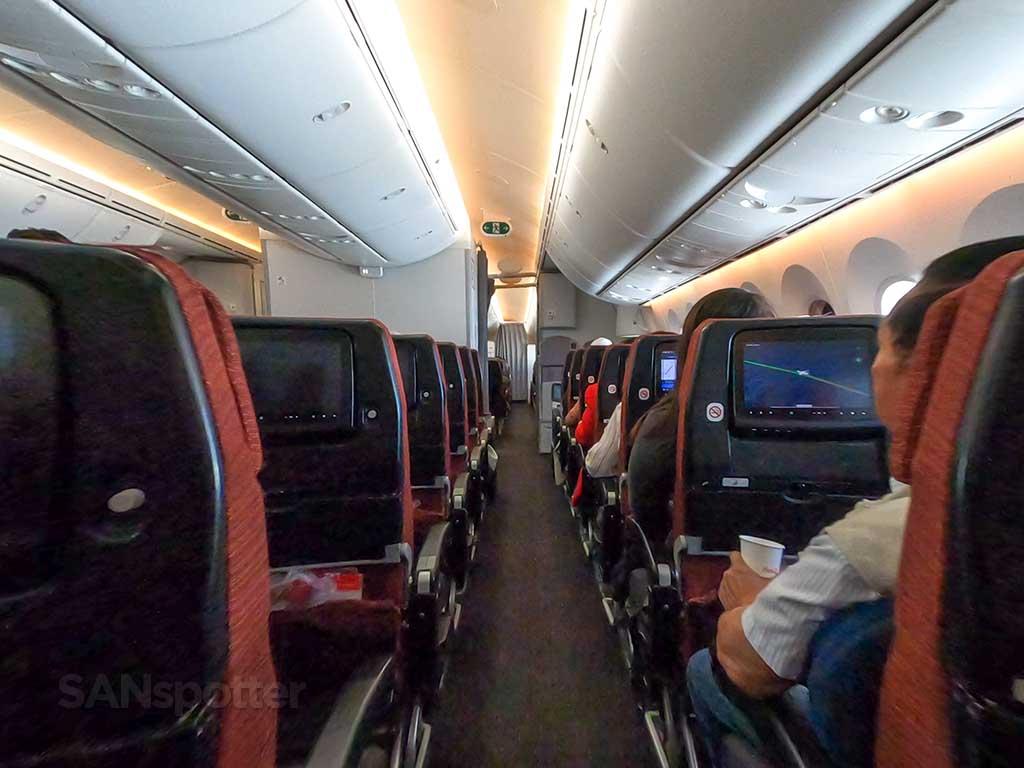 JAL 787 economy aisle