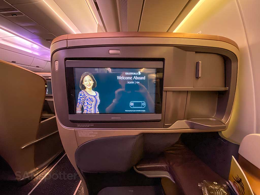Singapore Airlines A350 Business Class video screen