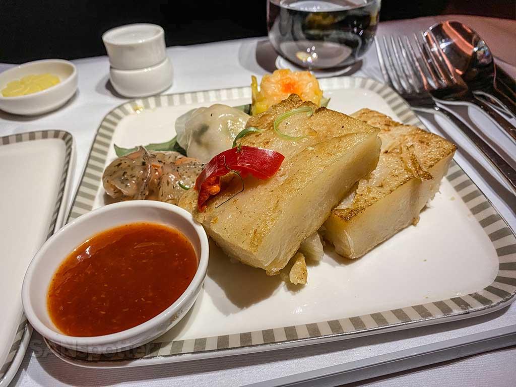 Singapore Airlines A350 Business Class dumpling breakfast