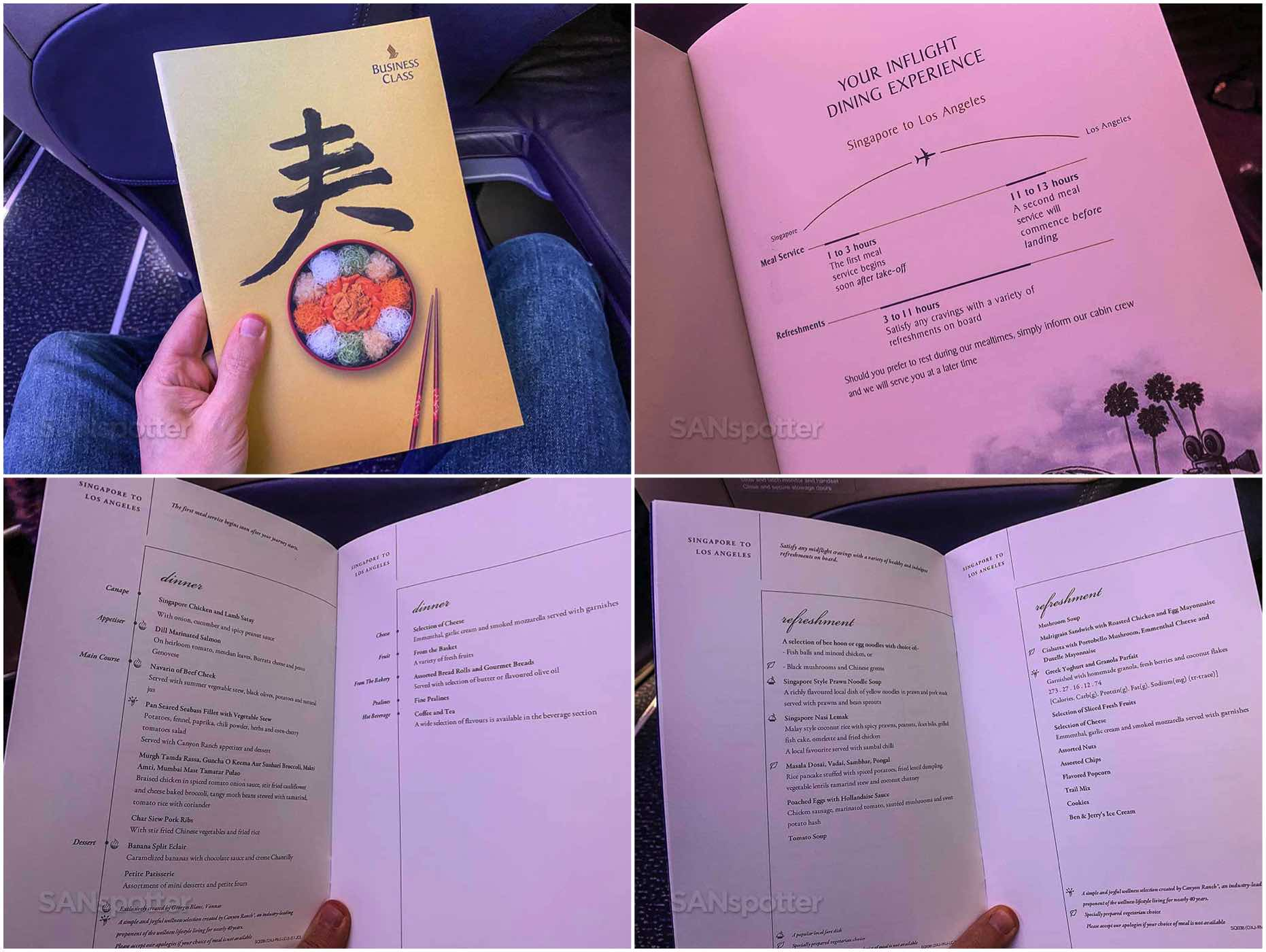 Singapore Airlines SIN-LAX business class menu