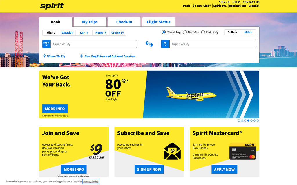 spirit airlines website