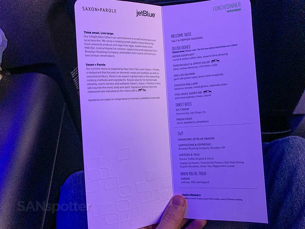 JetBlue Mint menu.