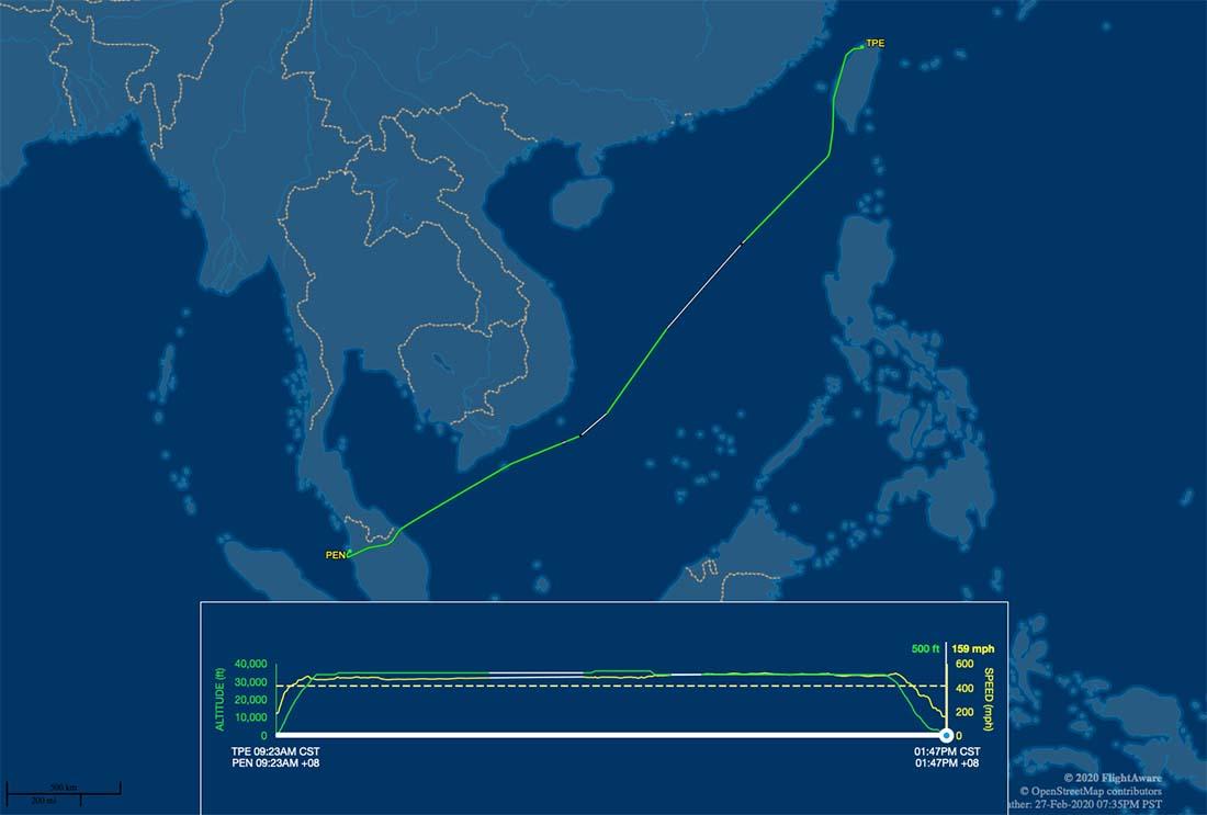 JX721 flight track