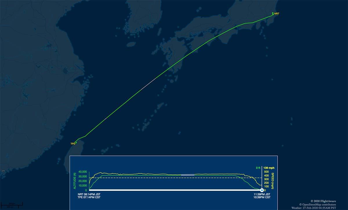 TR875 flight track