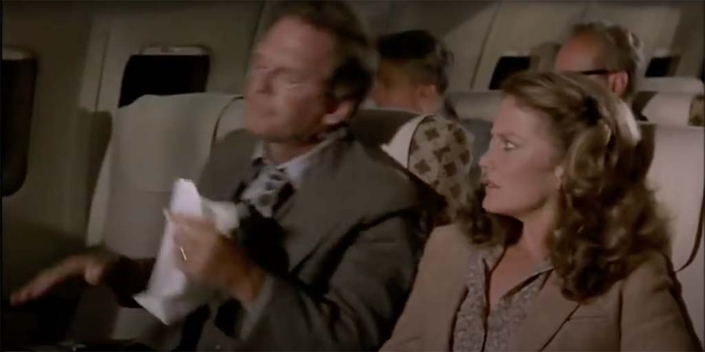 Airplane Jim never vomits at home movie quote