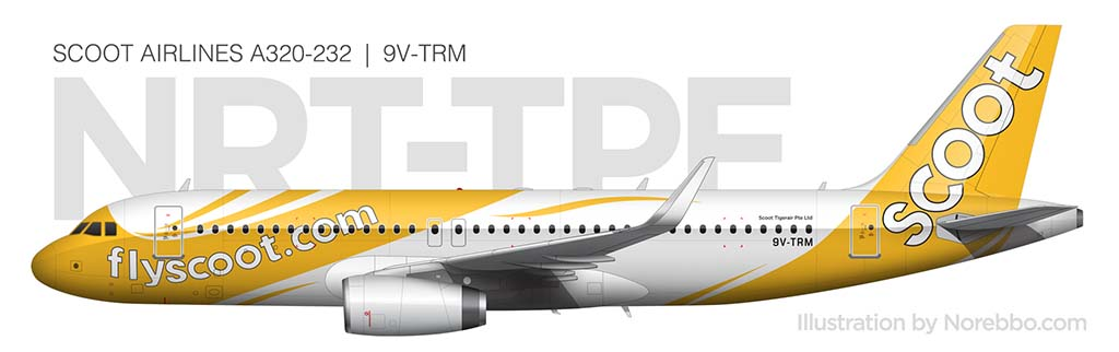Scoot Airlines A320 illustration